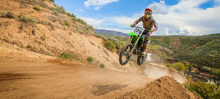 Dirt bike in action