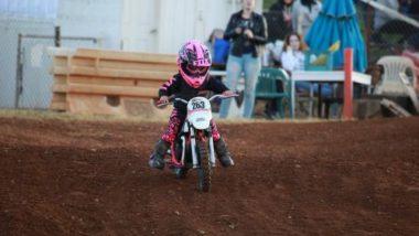 Kid running a Dirt Bike